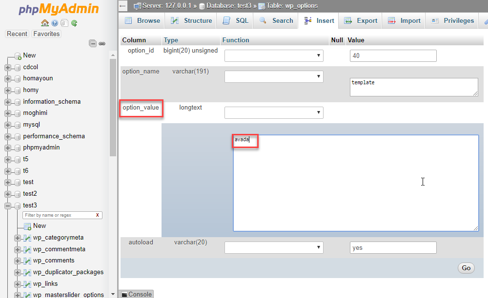 تغییر قالب وردپرس از دیتابیس در phpMyAdmin