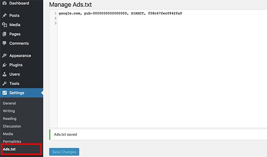 نحوه ایجاد و مدیریت فایلهای Ads.txt در وردپرس