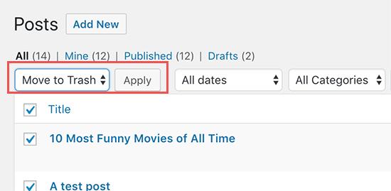 دو روش برای حذف دسته جمعی پست های وردپرس