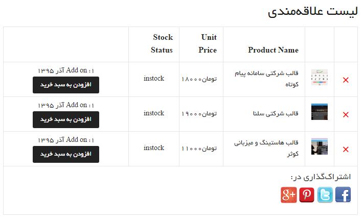 لیست علاقه مندی محصولات در ووکامرس با افزونه Wishlist for Woocommerce