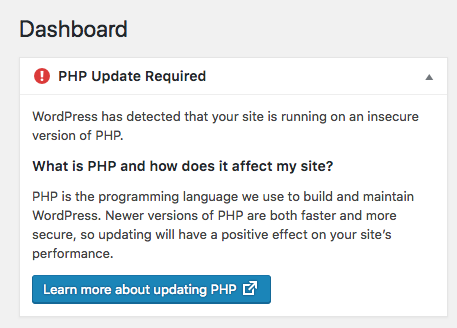 """دریافت """"هشدار قدیمی بودن نسخه PHP هاست"""" در وردپرس 5.1"""