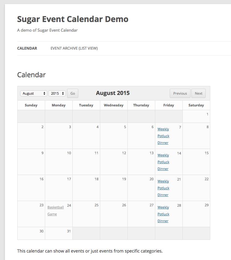 افزونه برای ایجاد تقویم در وردپرس Sugar Event Calendar