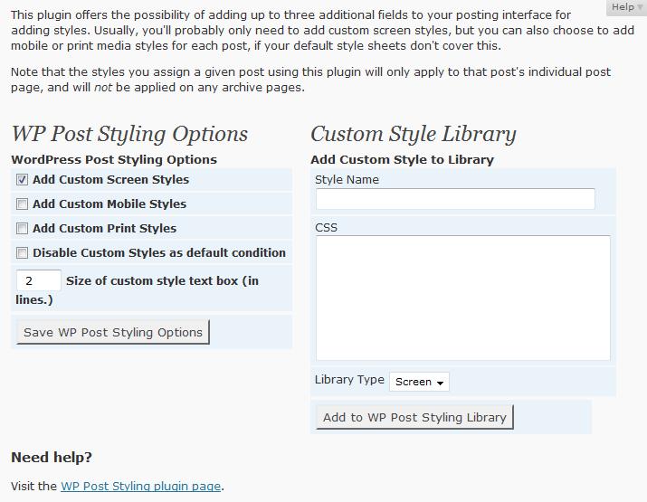 انتخاب استایل سفارشی در وردپرس با افزونه WP Post Styling