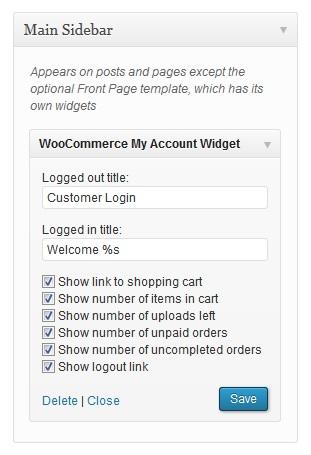 ابزارک حساب کاربری ووکامرس با افزونه WooCommerce My Account Widget