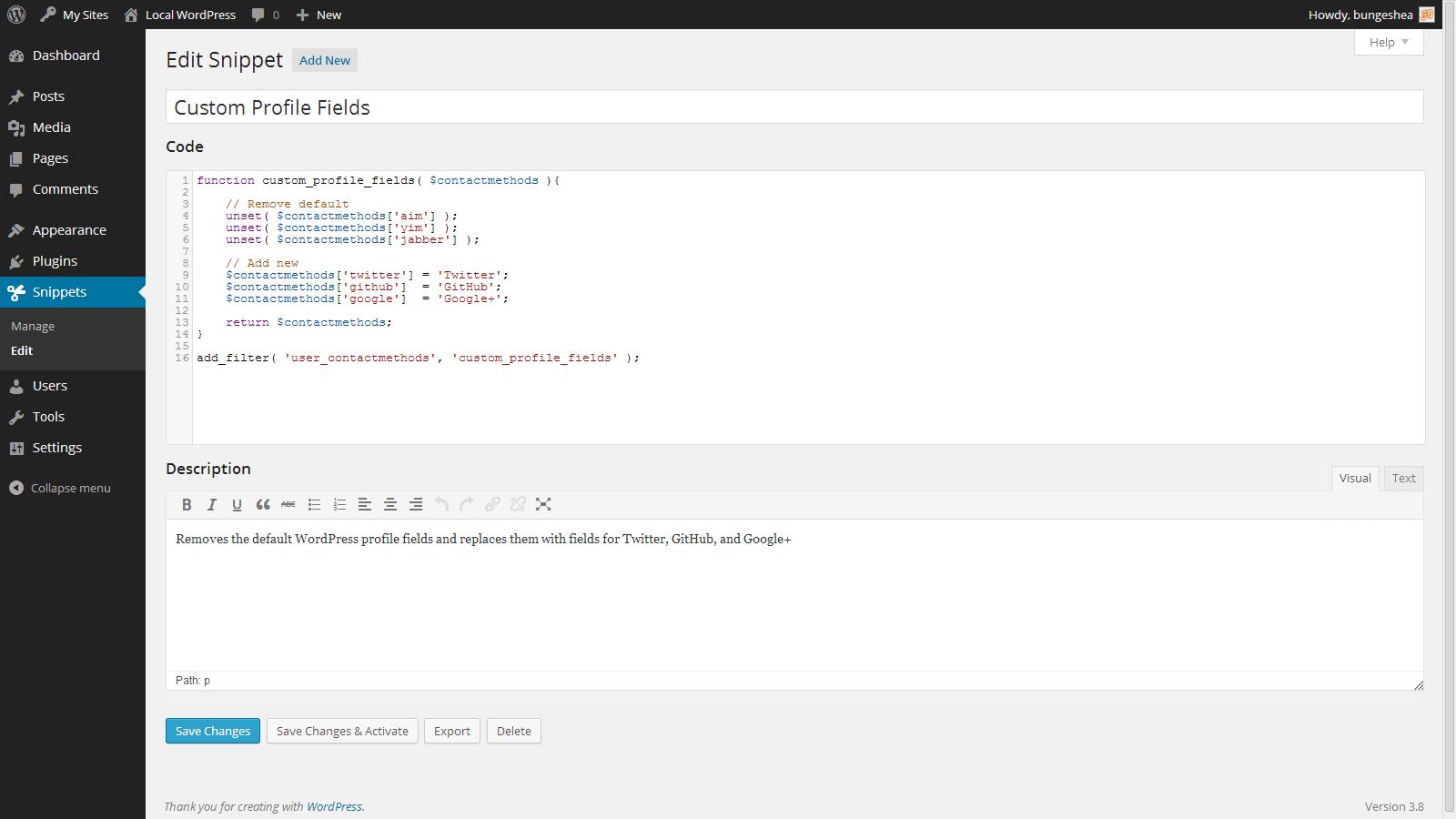 اضافه نمودن آسان قطعه کد ها به توابع وردپرس