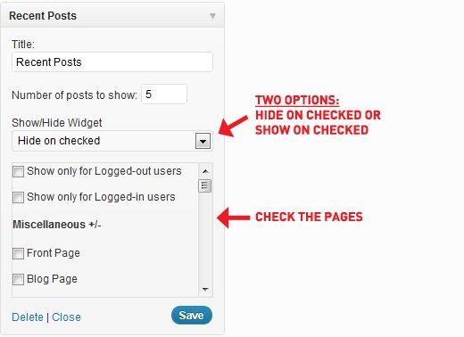 مخفی کردن ابزارک وردپرس از صفحات خاص