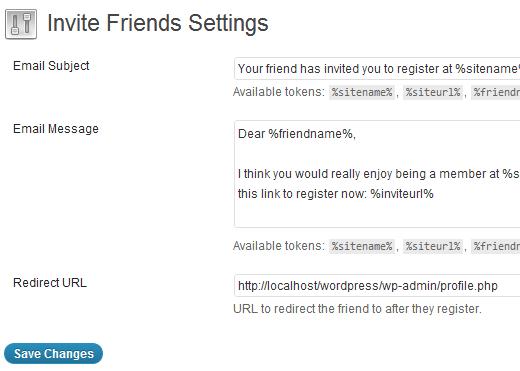 افزودن دعوت از دوستان برای عضویت در سایت وردپرسی