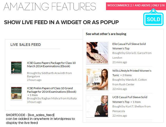 افزونه نمایش زنده محصولات حراجی Live Sales Feed