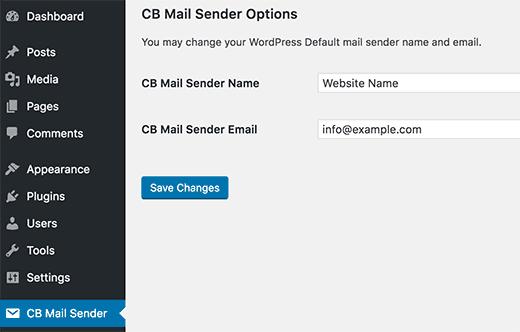 تغییر اطلاعات ایمیل پیشفرض وردپرس CB Change Mail Sender