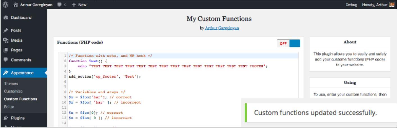 افزودن کدهای توابع به قالب وردپرس با افزونه My Custom Functions
