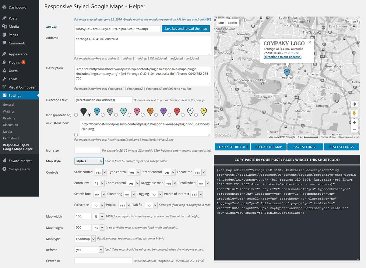 ایجاد نقشه های سفارشی گوگل در وردپرس با افزونه Responsive Styled Google Maps