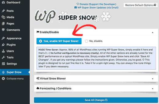 افزودن بارش برف در وب سایت وردپرس