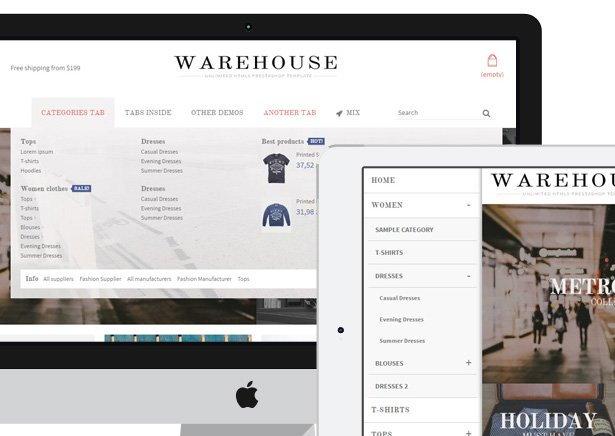 دانلود قالب فروشگاهی Warehouse برای پرستاشاپ