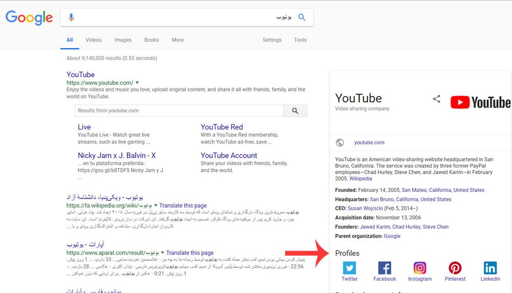 قرار دادن پروفایل شبکه های اجتماعی در گوگل